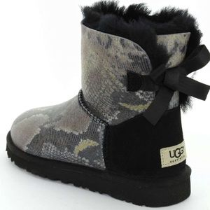 UGG Shoes - UGG Bailey Bow Tie Snake Skin Boots